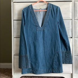 Free people blue dreaming of denim tunic